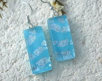 Aqua Blue Silver Earring, Dichroic Earrings, Dichroic Fused Glass Jewelry, Dichroic Jewelry, Dangle Drop Earrings, Glass Jewelry, 091716e101