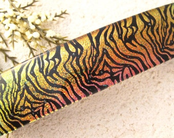 Golden Black Barrette, Large Barrette, Fused Glass Barrette, Dichroic Barrette, French Barrette, Zebra Glass Barrette, Hair Clip 013116ba100