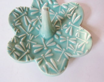 Dragonfly textured Ring Holder - Spa Green Ring Dish - Raised dragonfly texture Ring Bowl - Glazed in Kentucky Blue