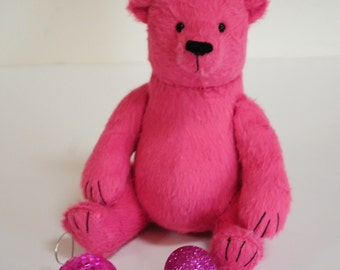 Trevor - one of kind plush pink artist teddy bear, 10 inches, by BigFeetBears