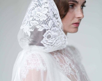 Bridal veil - Mantilla lace trimmed veil with headband - Style 709 - Made to Order