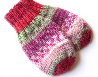Thumbless Cordless Baby Mittens. Hand Knit Baby Mitts Without Thumbs. Infant Hand Warmers. No Thumb Mittens. Cordless Unisex Baby Mittens