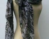Indian scarf, Ethnic Vintage Scarf, Dupatta stole scarf, Black gray all year scarf, cover up, Bohemian shoulder shawl, scarf, fall color