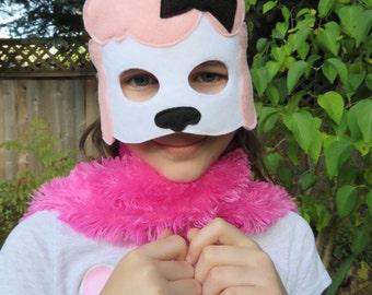Poodle Mask - Dog Mask - French Poodle - Dog Costume - Animal Mask - Girls Halloween Mask