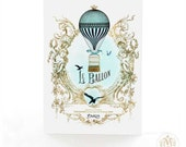 Hot air balloon card, French, vintage flight, steampunk, travel card, bon voyage card, bird cage, blue, gold, birthday card, le ballon