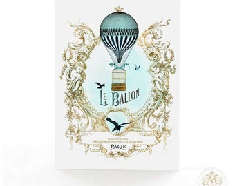 Hot air balloon card, French, vintage flight, steampunk, travel card, bon voyage card, bird cage, blue, gold, birthday card, le ballon