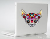 Chihuahua Sugar Skull Vinyl Car Decal Window Wall Laptop Bumper Outdoor Waterproof Decals Flower Dog Sticker Colorful Chi Dogs Head Painting