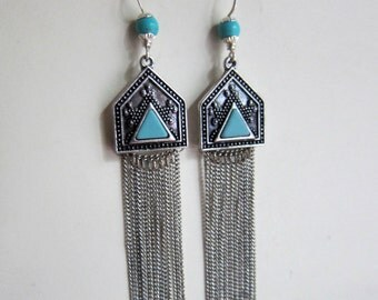 Turquoise Tassels - Long Swingy Turquoise and Howlite Silver Earrings