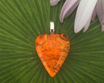 Orange Ice Small Heart Shape Pendant Fused Dichroic Art Glass - Jewelry