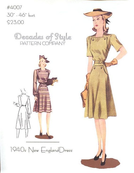 1940s Sewing Patterns – Dresses, Overalls, Lingerie etc 1940 New England Dress $23.00 AT vintagedancer.com