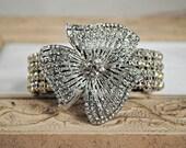 Bridal Cuff Bracelet, Bridal Brooch Bracelet, Rhinestone Wedding Cuff, Flower Brooch, Elegant Couture Fashion Bracelet, Vintage Glam Jewelry