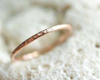 skinny Ring - 14k ROSE gold filled -  pick your texture - hammered ring - thin band - knuckle ring - midi ring