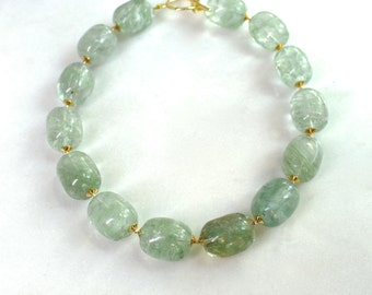 Very Big, Very Bold Green Quartz Oversized Bead 22kg Vermeil Focal Necklace...