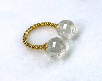 Pastille Double Clear Quartz Ring, Gold Vermeil Setting in an Adjustable size...