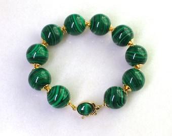 Stunning Malachite Specimen Bracelet with Gold Malachite Set Box Clasp...
