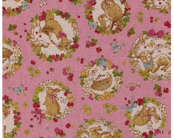 HALF YARD -Woodland Animals in Wreaths on PINK - Toadstool, Owl, Hedgehog, Fox, Rabbit, Trees, Deer, Bunny, Squirrel -  Japanese Import