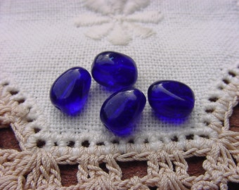 Cobalt Blue Plump Drops Vintage Glass Beads