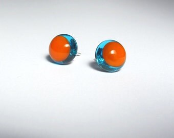 Pick Your Colours. Glass + Silver Edge Stud Earrings. One Of A Kind Jewelry. Modern Coloured Flamework Two Tone.