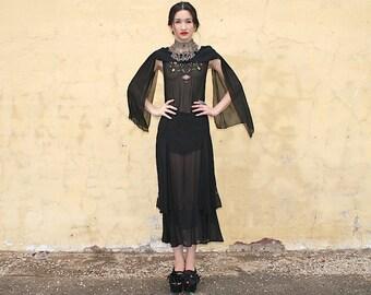 1920s 1930s Black Chiffon Embroidered Dress Stunning Neckline