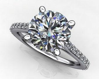 ready to ship - amora gem evangeline ring - 2 carat amora gem engagement ring, platinum, size 5.5