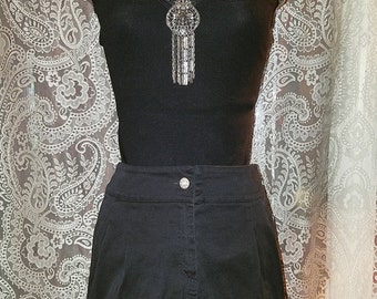 Black Mini Skirt Gothic Witchy Steampunk Small XS
