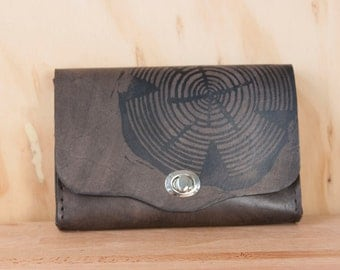 Leather Clutch Purse - Handmade Waist Bag in the Big Woody Pattern - Classic Style Box Wristlet in Black Leather
