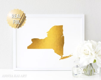 New York Map - New York Print - NY State Map - Real Gold Foil Wall Art - Gold Doil NY - NY Map Silhouette - Modern Minimalist Decor