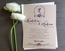 Rustic Purple Wedding Invitation- Kraft Invites, Rustic Whimsical Wedding Invite, Rustic Wreath Wedding Invites