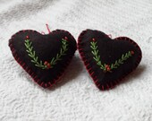 Christmas Ornament - Christmas decorations. rustic Piney Branches on Black Wool Felt Heart - set of TWO ornaments