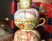 Colorful Vintage Asian Boho Teacup Pincushion Sewing Supplies Gift Vintage 1920's Vintage 1930's Teacup Pin Cushion Cottage Chic Decor