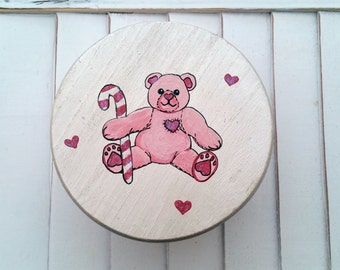 Wooden Keepsake Box, Wooden Trinket Box, Wooden Heart Box, Teddy Bear Painted Wooden Box, Heart Box Wooden Container,  Wooden Stash Box,