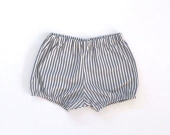 grey striped cotton bloomers / shorts / diaper cover