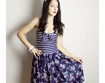 Handmade Vintage Dress, Blue Retro Dress, Strapless Handmade Dress , Bow Dress, VintageWoman dress , Handmade adult dress