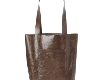 Brown Leather tote bag, Brown varnished leather shopping tote bag, with two pockets, Gift for women, Womens brown tote bag, MALAM