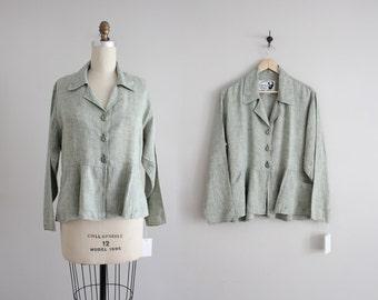 linen peplum jacket | vintage 90s linen jacket | green linen jacket