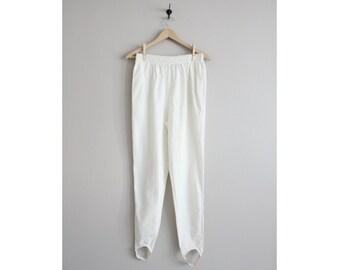 FINAL SALE! / stirrup pants / white pants / 90s pants