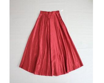 ruby red silk skirt / 1950s skirt / floor length skirt