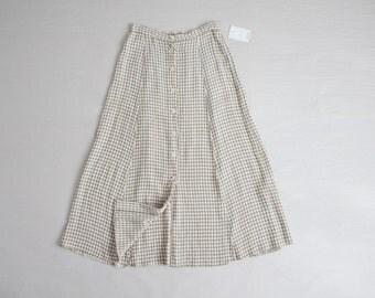 gingham midi skirt / gingham skirt / plaid skirt