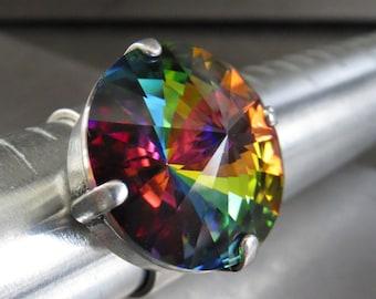 Large Rainbow Crystal Ring, Swarovski Crystal Vitrail Rivoli Ring, Multicolor Crystal Ring, Crystal Silver Cocktail Ring, Adjustable Ring