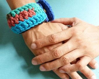 Crochet bracelet blue greens red