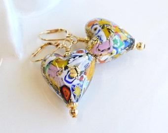 Klimt Inspired Venetian Glass Heart Earrings