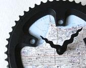 San Francisco Bicycle Clock  |   Map Clock  | San Francisco City Map Clock | Bike Gear Clock