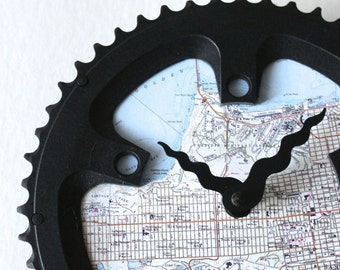 San Francisco Bicycle Clock  |   Map Clock  | San Francisco City Map Clock | Bike Gear Clock