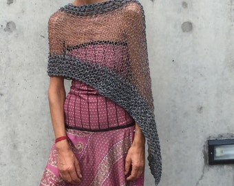 Gray sheer poncho coverup