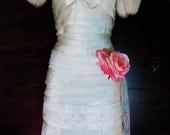 Flapper wedding  silk  ivory tiered feather fringe Gatsby 20s  vintage  bride  romantic small by vintage opulence on Etsy