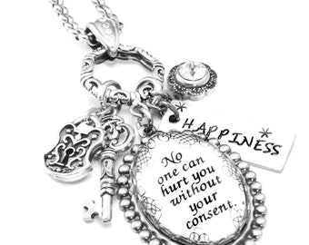 Inspirational Charm Necklace, Glass Pendant, Silver Inspirational Jewelry, Quotes Jewelry, No one can hurt you