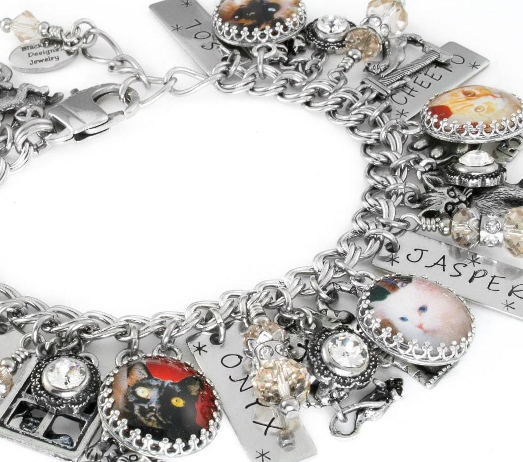 personalized cat charm bracelet cat jewelry memorial. Black Bedroom Furniture Sets. Home Design Ideas
