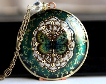 Locket Necklace, Wedding Jewelry, Women's Necklace, Bridal Jewelry, Bridesmaid Jewelry, Bridesmaid Gift, Boho Necklace, Vintage Style Weddin