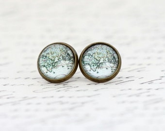 Africa Asia Map Earrings - Stud Earrings - Travel - Map Jewelry - Vintage Map Print - Stud Earrings - Explorer - Gift For Her