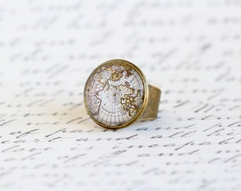 Map Ring, World Map Statement Ring, Brass Adjustable Ring, Gift For Traveler, Wanderlust, Map Jewelry, Explorer, Adventurer, Graduation Gift